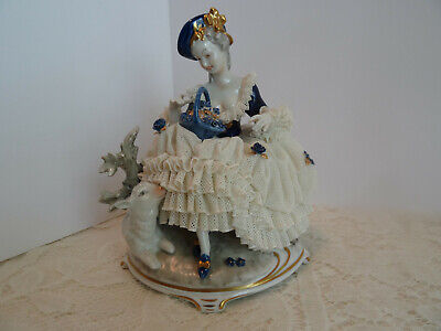 $ CDN288.22 • Buy Stunning Dresden Figure Porcelain Lace Lady Figurine With Lamb - Germany