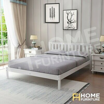 AU159.50 • Buy Double Size Wooden Bed Frame White Pine Mattress Base Timber Bedroom Furniture