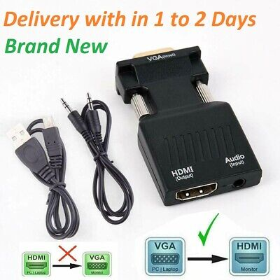 £6.99 • Buy VGA INPUT To HDMI OUTPUT Adapter Video Audio Converter Cable 1080P For TV PC DVD