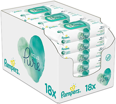 Pampers Baby Wipes Aqua Pure Water For Newborn Skin, 1260 Wipes, 18 Packs Of 70 • 33.60£