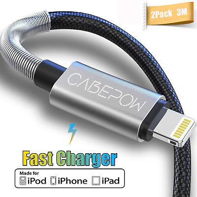 £16.41 • Buy [ MFi Certified ] 2Pack 3M IPhone Charger Cable, CABEPOW Long Lightning Cable