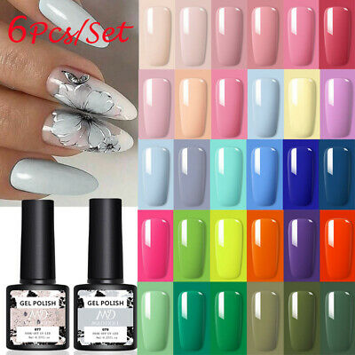 6Pcs/Set LILYCUTE 7ML UV Nail Gel Polish Soak Off Gel Varnish Base Top Coat • 10.99£