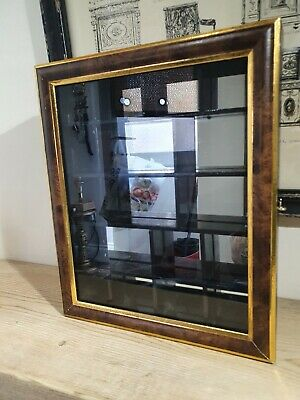 Small Collectable Wood, Mirror & Glass Display Cabinet Wall Mounted Small  • 35£
