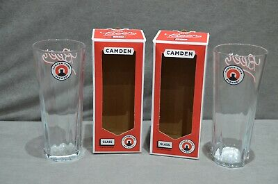 Pair Of (2) Camden Town Brewery London Hells Lager Pint Glass 20oz 2019 In Box • 10.99£