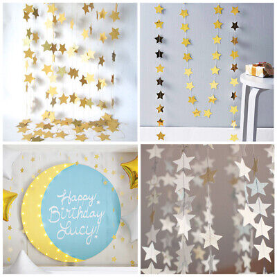 4M Star Foil Gold Silver Garland Hanging Buntings Paper Wedding Party Decor • 4.45£