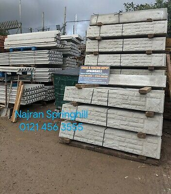 Rock Faced Concrete Gravel Boards For Slotted Posts 6ft X 1ft   • 11£