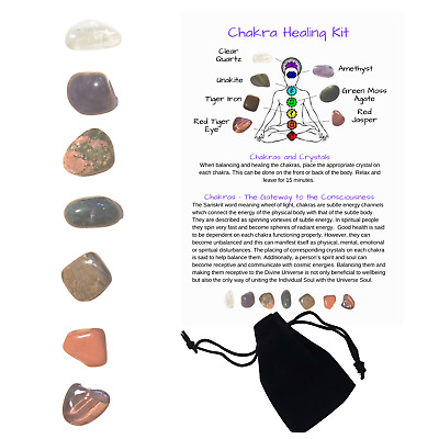 CRYSTAL HEALING SET - 7 Small Gemstones - Kit Includes Chakra Card & Gift Pouch • 4.99£