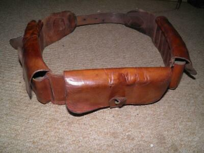 WW 2 Military/Cavalry Brown Leather Ammo Belt Bandoleer With 4 Pouches • 159£