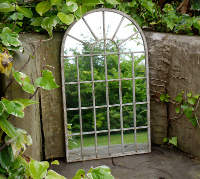 £37.95 • Buy Large Arched Window Metal Distressed Rustic Wall Mirror Home / Garden Decor 60cm