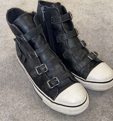 Ash Virgin Leather High Top Black Trainers Boots Size Uk 6 Eu 39 • 9.99£