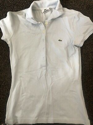 Womens Ladies  GENUINE LACOSTE FITTED POLO SHIRT IN Light Blue  SIZE 34 Uk 6-8 • 8£