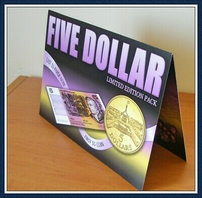 AU44 • Buy Unc Limited Edition $5 Paper Banknote Pack Include First Ever $5 Coin. Unc.
