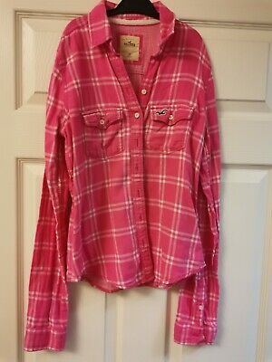 Ladies Pink Checked Hollister Shirt - XS - Excellent Condition • 2.99£