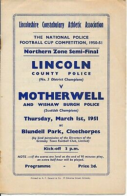 Lincoln V Motherwell Scotland (Police Cup Semi Final @ Grimsby Town FC) 1951 • 9.99£