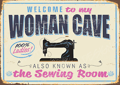 Woman Cave Sewing Cotton Thread Metal Sign Retro Plaque Vintage Room Shed Bbq • 7.99£
