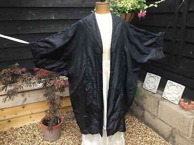 Genuine 1920s Flapper Black Silk Cocoon Coat Butterfly Embroidered Sailor Collar • 100£