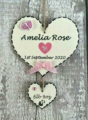 £5.65 • Buy New Baby Personalised Plaque Unique Handmade Sign Wooden Gift Girl Boy Nursery