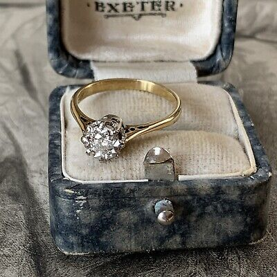 Vintage 18 CT Gold Diamond Solitaire Ring 0.25 Carats • 425£