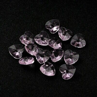 £2.60 • Buy 10 X Crystal Glass Faceted Pink Heart Pendant Charms 10mm
