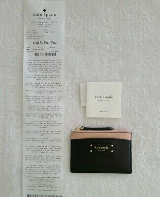 $ CDN17.80 • Buy NWOT Kate Spade Jeanne Leather Black Warm Vellum Pink Card Holder Zip Bag Wallet