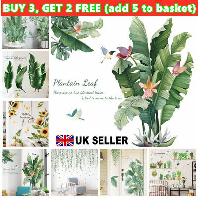 Room Large Vinyl Art Mural Green Plant Wall Stickers Tropical Leaves Decal Tool~ • 6.64£