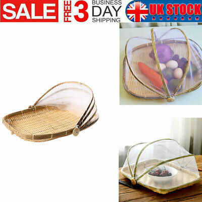 Bamboo Fruit Basket Wooden Fruit Bowl With Mesh Cover Protects Food From Insects • 10.06£