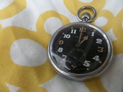 Jaeger Lecoultre Military Pocket Watch Black Face Circa 1940 British Army Ww2 • 250£