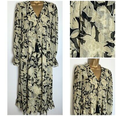 River Island Beige/Black Print Lined Midi Dress Size 8 - 16  (ri-12h) • 19.95£