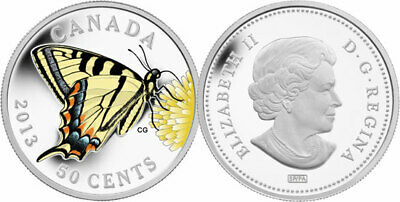 $36.04 • Buy 2013 CANADA 50 Cent Tiger Swallowtail Butterfly Colored Large Silver Plated Coin