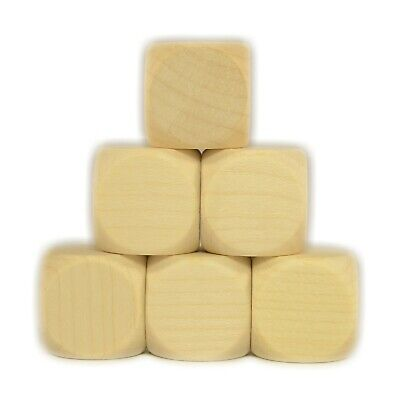 £3.39 • Buy 6 WOODEN DICE 20 Mm Plain Blank Pack Raw Clear Cube Untreated RPG Craft D6 E05
