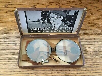 $79.99 • Buy Vintage Antique Ventiflex Eyetects Riding Motorcycle Goggles Glasses In Box