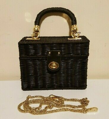 AU49.50 • Buy Zara Black Raffia Minaudiere Cross Body Bag With Braided Handle