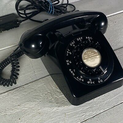 Vintage 60s GPO 706L Black Rotary Dial Telephone With Bakelite Junction Box • 39.99£