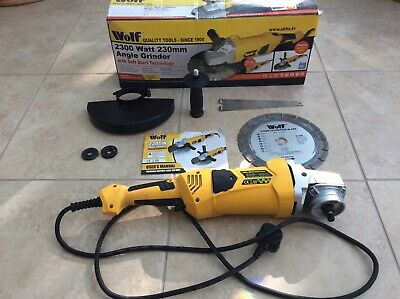 Wolf Angle Grinder 230mm 9  Electric 230v Corded With Tipped Disc Included • 31£