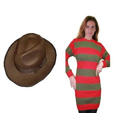 Womens Halloween Red And Green Freddy Krueger Fancy Dress Knitted Jumper Hat Set • 15.99£