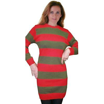 Womens Halloween Red And Green Freddy Krueger Fancy Dress Strippe Knitted Jumper • 12.99£