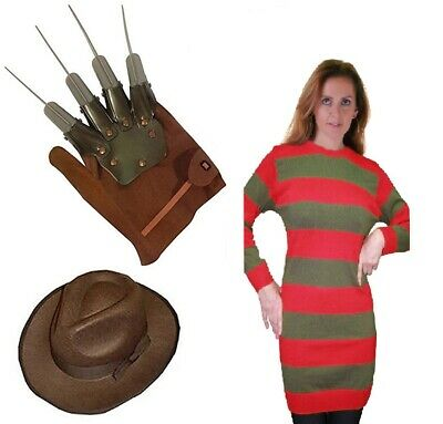 Womens Halloween Red And Green Freddy Krueger Fancy Dress  Jumper Hat Glove Set • 20.99£
