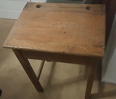 Charming Old Vintage Wooden School Desk With Lift Up Lid & Ink Wells / Inkwells • 30£