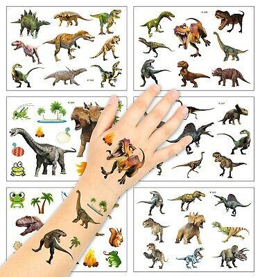 2 Sheets Dinosaur Christmas Temporary Tattoo Stickers Boys Birthday Party Bag • 2.50£
