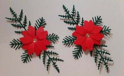 Pack Of 5  Stunning Christmas Flowers.  Die Cuts For Cards/toppers • 2.95£