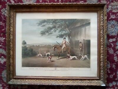 Samuel Howitt Shooters Going Out In The Morning Engraving Print Gold Gilt Frame • 38£