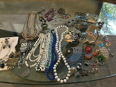 $ CDN388.32 • Buy 50+ Pieces Jewelry Resale Lot: Rings Necklaces Sterling Fashion Vintage & More