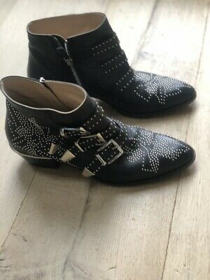 CHLOE Susanna Studded Leather Ankle Boots Size 40 • 500£