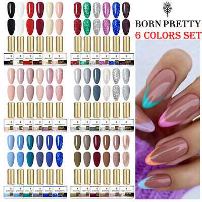 6Pcs/Set 10ml BORN PRETTY Rose Gold Soak Off UV Gel Nail Polish Glitter Varnish • 12.99£