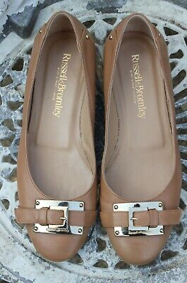 Russell & Bromley Light Tan Nude Leather Buckle Ballet Pumps Flats Size 37 UK 4  • 35£