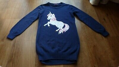 Girls Navy Blue Zoo Unicorn Jumper Dress Age 7-8 Years • 3£