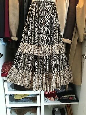 Anokhi For East Ethnic Print Indian Cotton Skirt S 16 Midi Exc Cond • 14.99£