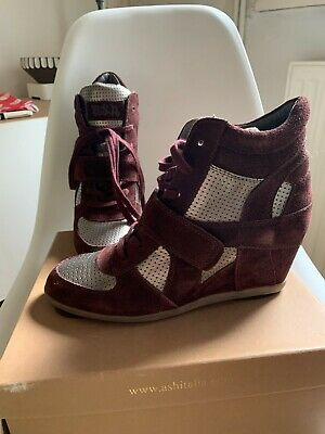 New In Box Ash Bowie Wedge High Top Trainers Burgundy Wine Suede & Silver 8 41 • 14£