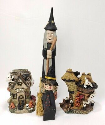 $ CDN32.97 • Buy Vintage Halloween Figurines Decor Lot Of 4 Standing Wood Witches & Resin Ghosts