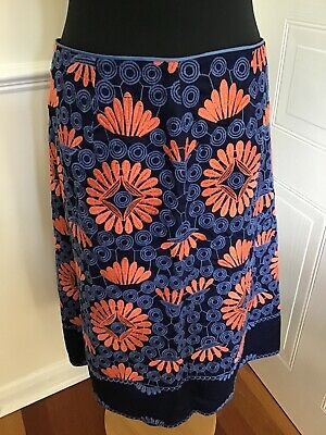 Monsoon Gorgeous Size 12 Blue And Orange Floral Cotton SKIRT • 5£